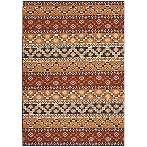 Safavieh Veranda Collection VER095-0332 Indoor/ Outdoor Red and Chocolate Contemporary Southwestern Area Rug (2