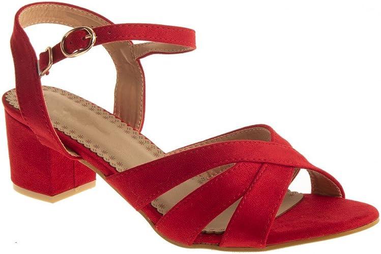 Sandales Femme Petit Talon carré 4 cm à Bout Ouvert en