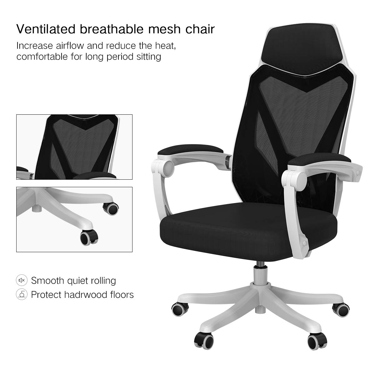 Hbada Office Computer Desk Chair - Ergonomic High-Back Swivel Task Gaming Chair - White by Hbada (Image #5)