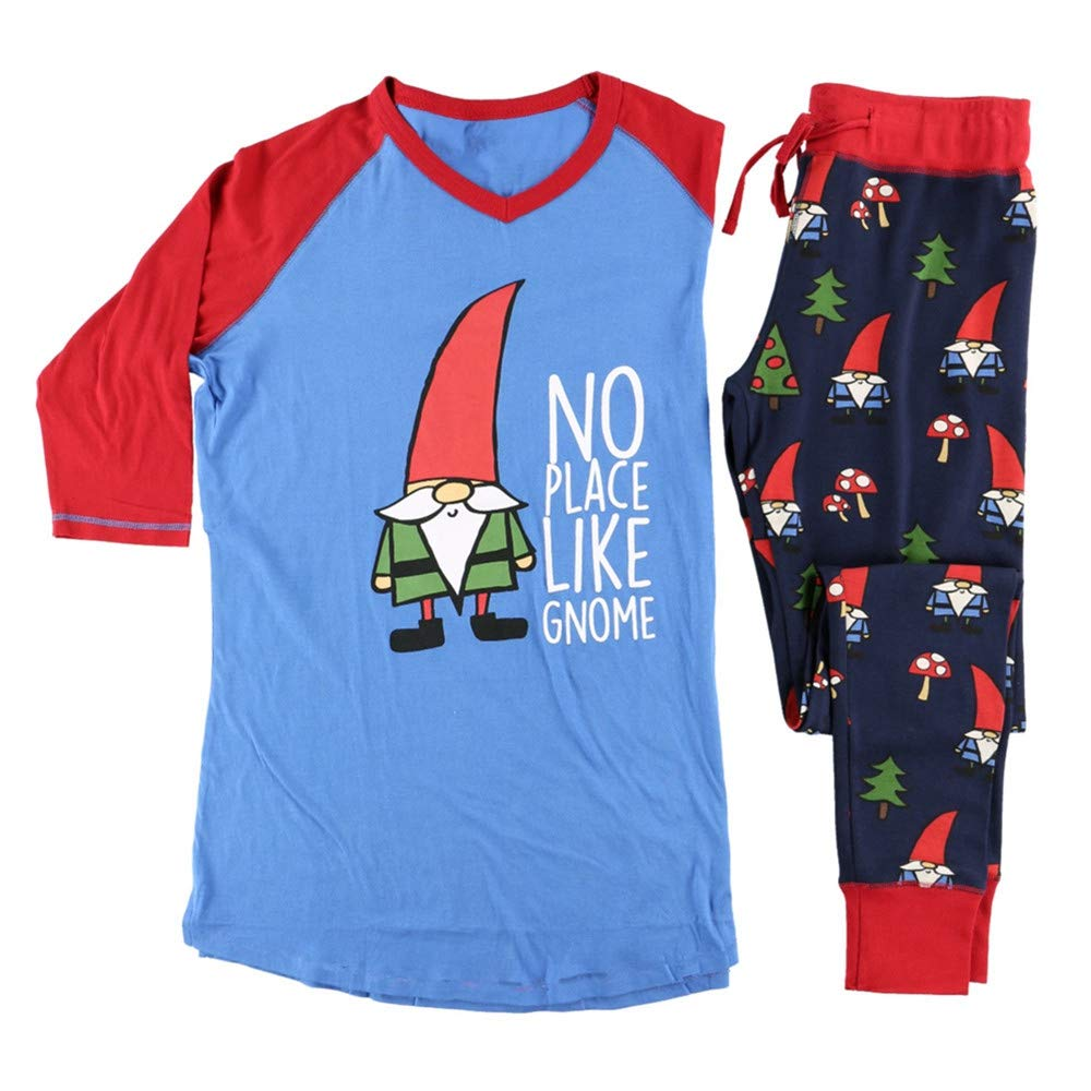 Hecentur Christmas Pajamas Matching Family Xmas Tree Santas Print Sleepwear Parent-Child Pjs Long Sleeve T-Shit Loungewear