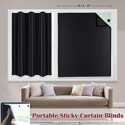 Amazoncom Adjustable Sticky Blackout Blind Curtains Thermal