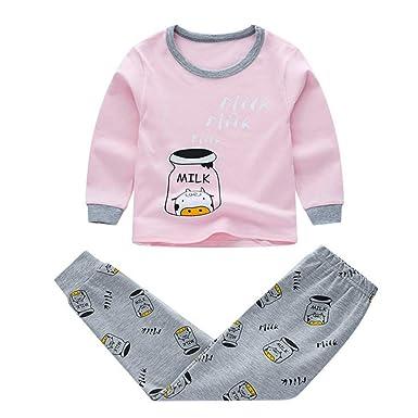 2Pcs Kids Baby Boys Girls Clothes Tops+Pants Cotton Baby Pajamas Sleepwear Kit