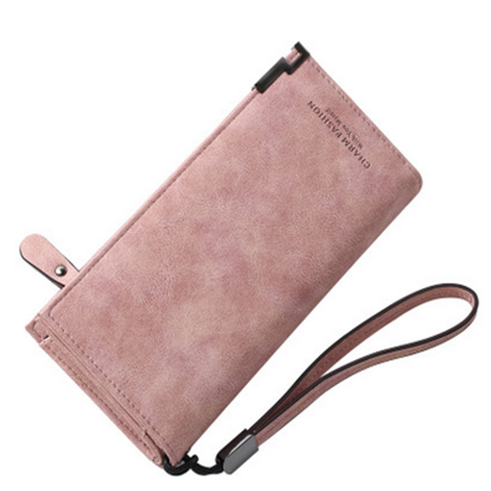 IFUNLE Women RFID Blocking Long Wallet Large Capacity Clutch Cash Card Phone Holder Coin Pouch Snaps Buckle Zipper Travel Purse Handbag with Wrist Strap (Pink)