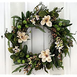 Cream Flowers, Berries and Ferns Decorative Door Wreath (24 inch) 7
