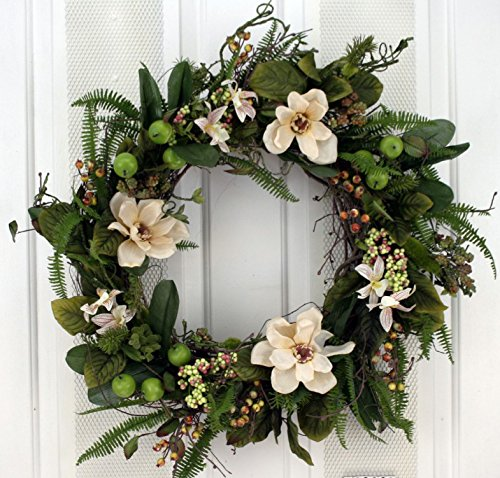Cream-Flowers-Berries-and-Ferns-Decorative-Door-Wreath-24-inch