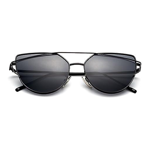 eebc0d40368 PenSee Womens Fashion Cat Eye Coating Mirror Lens Flat Street Metal Frame  Sunglasses
