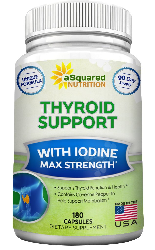 Premium Thyroid Support Supplement With Iodine (180 Capsules) - Best Herbal & Vitamin Complex w/ B12, Ashwagandha, Bladderwrack & Kelp - Helper for Healthy Hormone, Energy, Metabolism, & Weight Loss by aSquared Nutrition