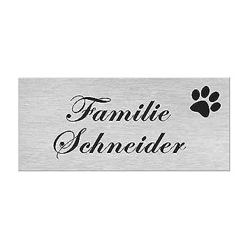 Briefkastenschild in 4 Motiven erh/ältlich T/ürschild ist selbstklebend Hund Geschenkidee f/ür Frauen /& M/änner Klingelschild in Edelstahl Optik Namensschild personalisiert mit Gravur