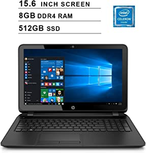 Premium Flagship HP Pavilion 15.6 Inch HD Laptop (Intel Celeron N2840, 2.16GHz up to 2.58GHz, 8GB RAM, 512GB SSD, DVDRW, WiFi, Bluetooth, HDMI, Windows 10 Home) (Renewed)