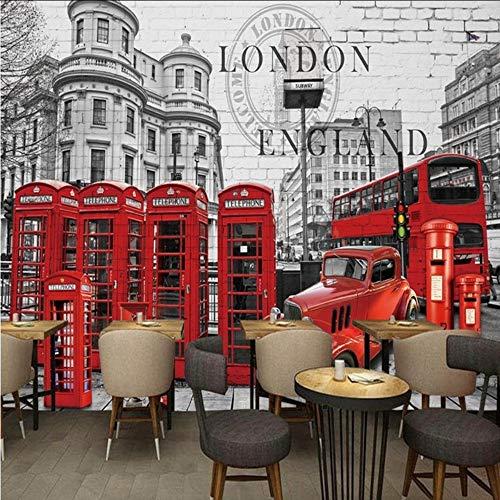 hwhz Custom 3D Photo Wallpaper Nostalgic Retro British Bus Red Phone Booth English Style Backdrop Mural Cafe Restaurant Wallpaper-120X100Cm