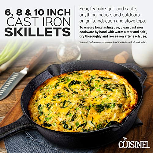 cuisinel Pre-Seasoned Cast Iron Skillet 3-Piece Chef Set (6 8 10-Inch) Oven Safe Cookware   3 Heat-Resistant Holders   Indoor and Outdoor Use   G, 6-Inch 8-Inch Inch, Black by cuisinel (Image #5)