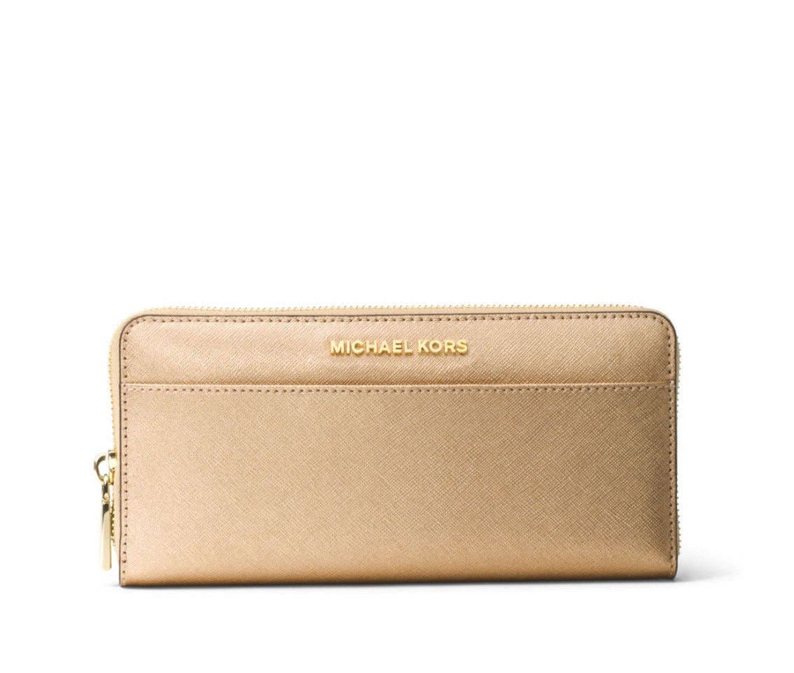 Michael Kors Jet Set Travel Saffiano Leather Pocket Continental Wallet in Pale Gold by Michael Kors