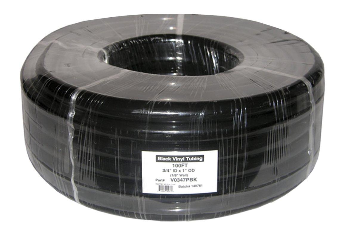 Plutus Brands 5/8 x 3/4 x 1/16 Wall PVC Clear Tubing Coil, 100', Black