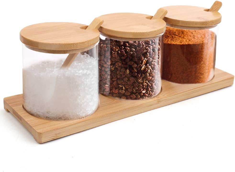 Luyy Condiment Jar Container Seasoning Box Set Glass Condiment Canisters Pots with Wooden Spoon Lid and Base for Sugar Serving Spice Salt B:Set of 3