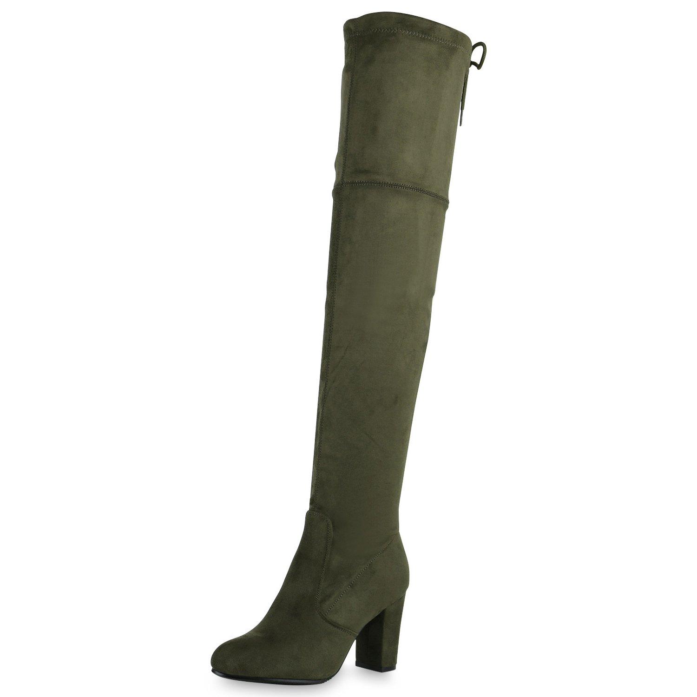 SCARPE VITA Damen Stiefel Overknees mit Blockabsatz Basic Dunkelgrün