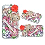 KAKA(TM) Phone Case for iPod, iPod Touch 6 3D Rhinestone Crystal Clear Back Cover with Bling Lovely Kitty Guitar Umbrella Red Flower