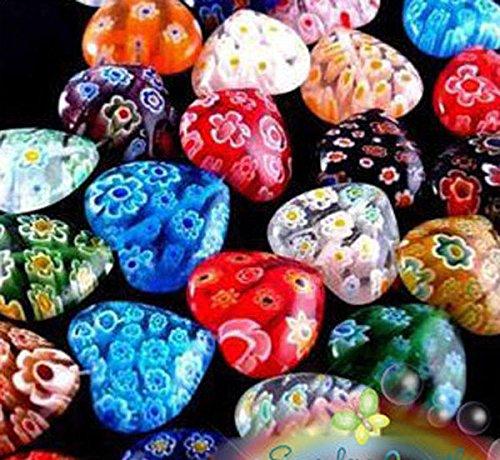 Wholesale Lots 100pcs Shining Heart Millefiori Glass Craft Beads 8mm Multi-Color (Rose Millefiori)