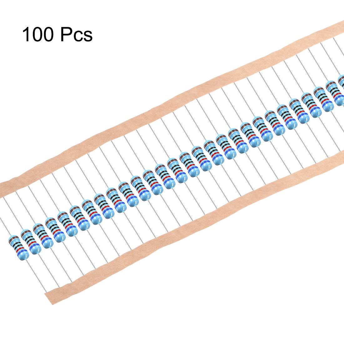 sourcing map 1//2W 1K Ohm Metal Film Resistors 0.5W 1/% Tolerances 5 Color Bands 100 Pcs
