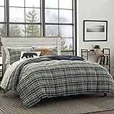 Eddie Bauer Rugged Plaid Comforter Set, King, Navy Blue