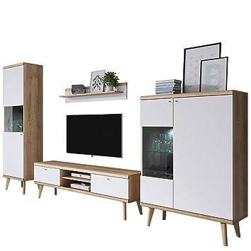 Mirjan24 Wohnzimmer Primo II, Elegantes Wohnzimmer Set Im Skandinavischen  Stil, TV Lowboard,
