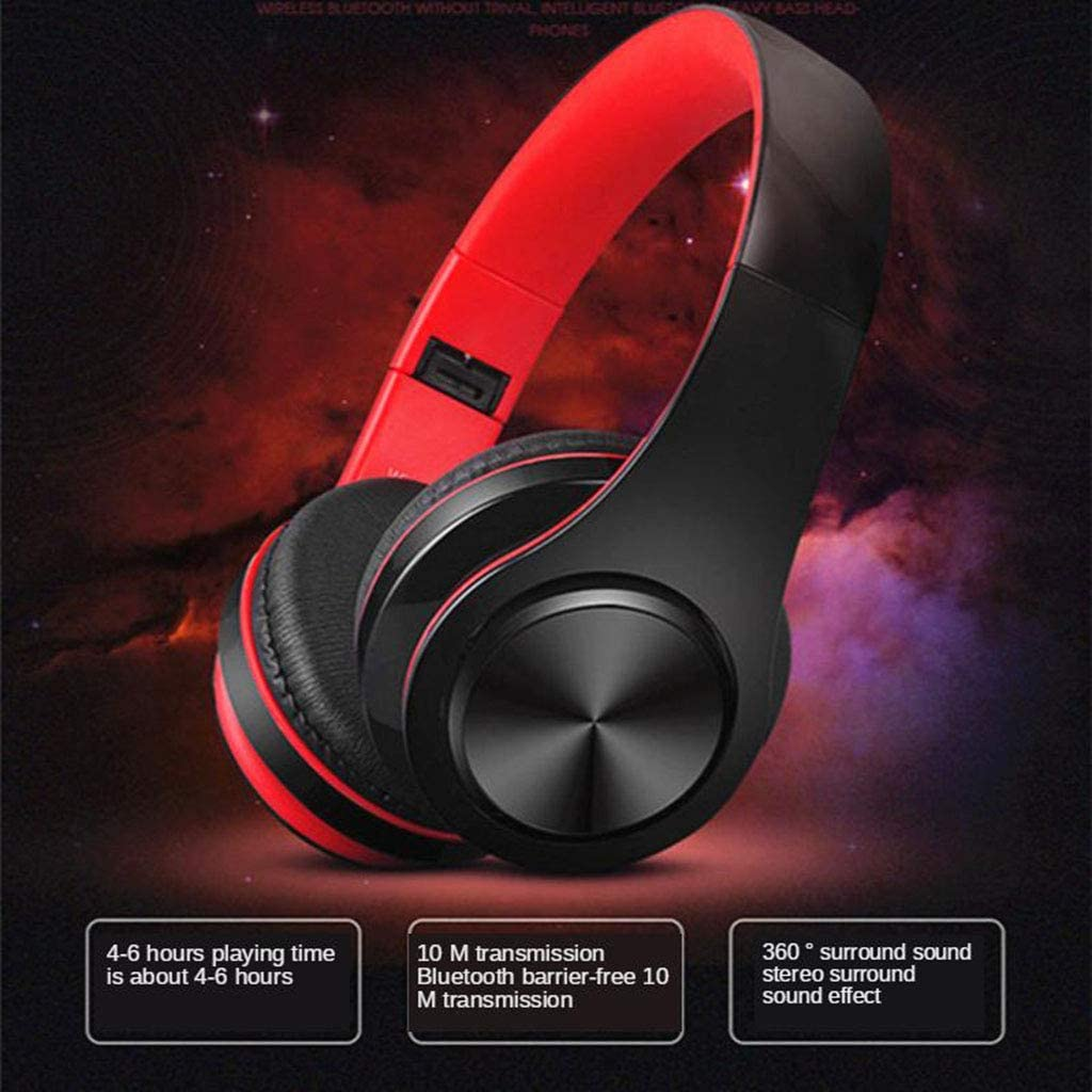 #N/A SS-958 3.5mm Foldable Adjustable Bluetooth Headset Earphone Microphone - Red White Black Red