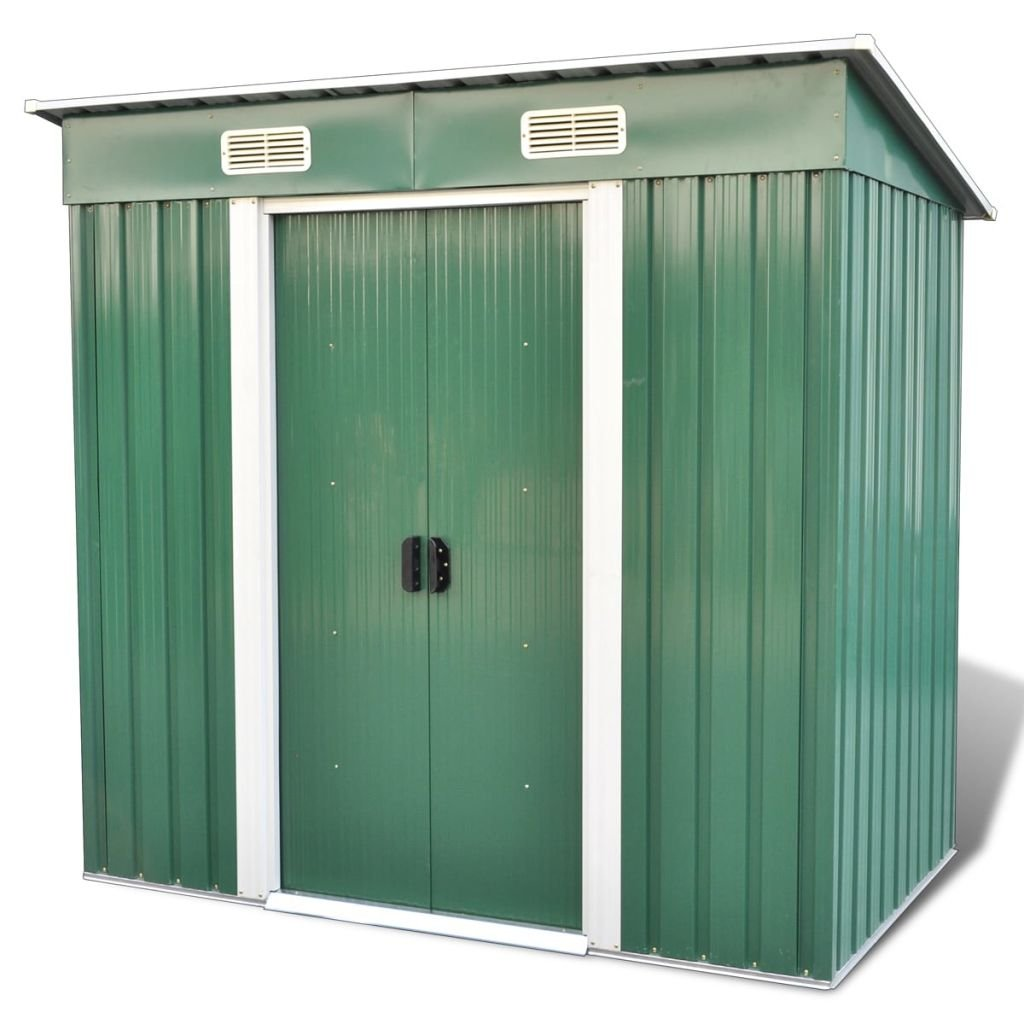 vidaXL Cobertizo de Almacenaje de Jardín con Base Metal Verde 2,35 m³ Caseta: Amazon.es: Hogar