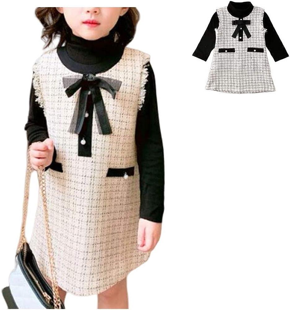 snaked cat Children Plaid Dress Formal Long Sleeve Dress Outfit Baby Girls Dress 2pcs Set