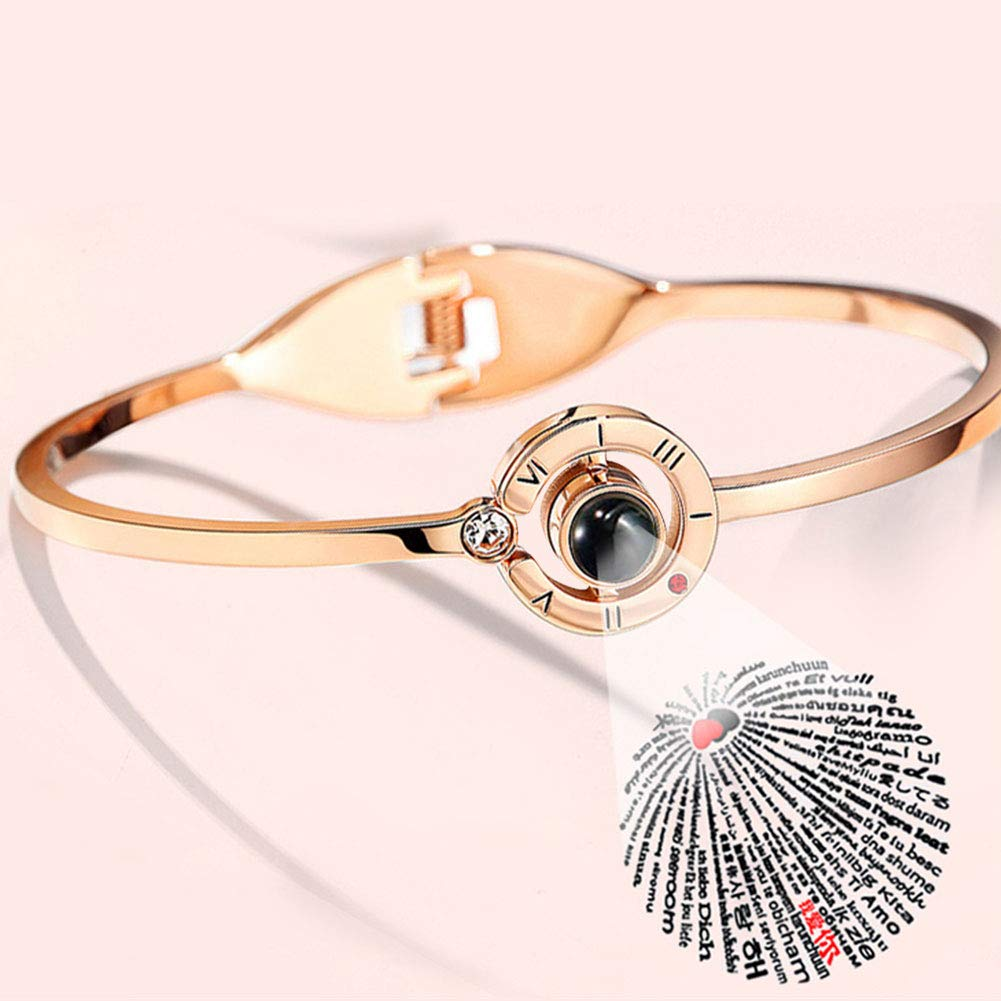 Bracelet//Necklace//Ring Optional MINQISU 【Memory of Love】 Series Fine Jewellery Best Gifts for Women Projecting I Love You in 100 Languages Size Bracelet Silver