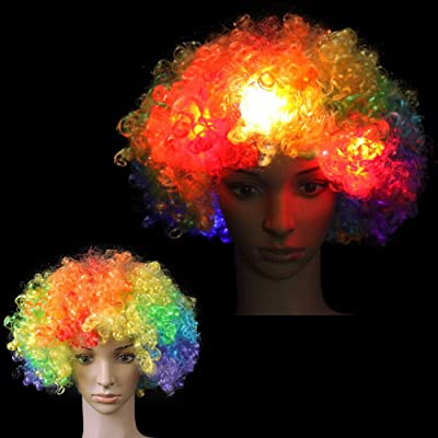 ARDUX LED Flash Explosion Wig - Clown Wig, Beautiful Afro Wig,Fancy Dress Parties Wig, Cosplay Wig,Men & Women 's Hair Wig for Cosplay/Halloween Party Costume (Multicolor): Clothing