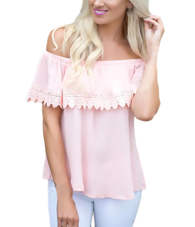 70%OFF BOLAWOO Mujer Tops Verano Elegantes Fiesta Camisetas Hombro  Descubierto Barco Cuello Color Sólido 9ca0d9441327