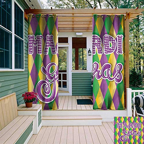 leinuoyi Mardi Gras, Outdoor Curtain Pole, Stylized Mardi Gras Lettering on Classical Diamond Line Backdrop, Outdoor Privacy Porch Curtains W96 x L108 Inch Violet Fern Green Marigold