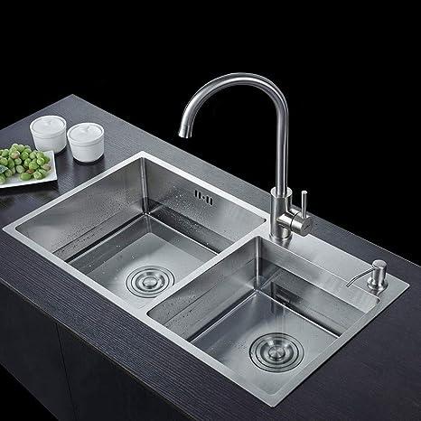 Lavello da cucina con doppio sottopiano in ceramica lavato in ...