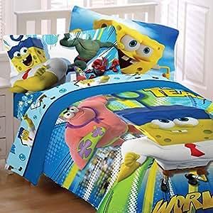 4pc Nickelodeon Spongebob Squarepants Movie Twin Bedding Set Mr. Awesome Superhero Comforter and Sheet Set by Store51 LLC