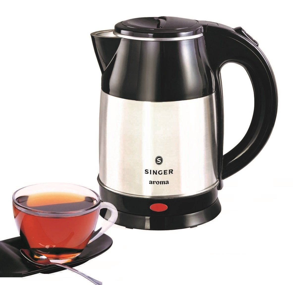 Singer Aroma 1.8-Litre Electric Kettle (Silver/Black)