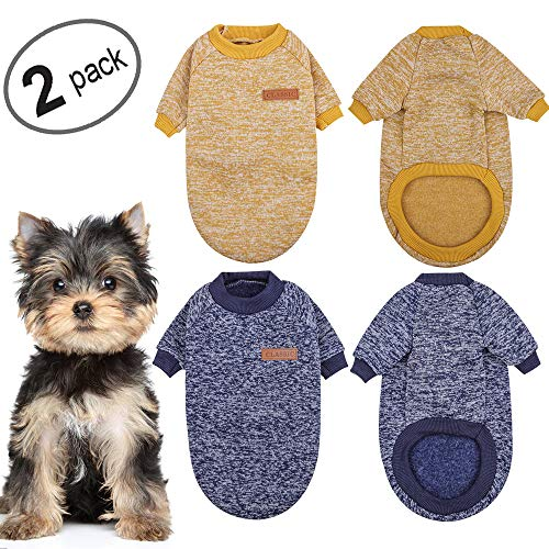 KOOLTAIL Dog Sweater Winter Clothes 2 Pack - 2 Colors Soft and Warm Suitable for Tiny Small Medium Dogs Puppy Pet Fall Sweaters Fashionable