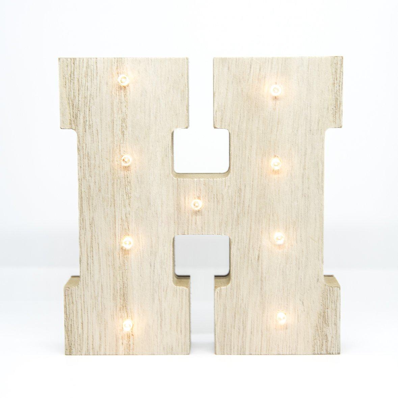 NEW HOME LETRA MADERA LED H