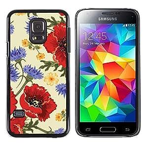 FECELL CITY // Duro Aluminio Pegatina PC Caso decorativo Funda Carcasa de Protección para Samsung Galaxy S5 Mini, SM-G800, NOT S5 REGULAR! // Flower Red Vintage Vignette