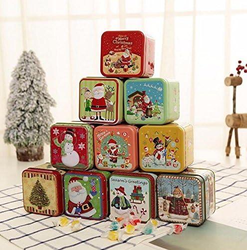 Huihuger adornos de metal para Navidad, cajas de dulces, cajas de galletas, tarro de lata, decoración para el hogar: Amazon.es: Hogar