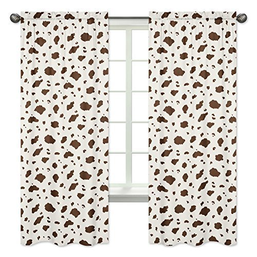 Sweet Jojo Designs 2-Piece Brown Cow Print Window Treatment Panels for Wild West Cowboy Western - Pillow Cowboy Panel