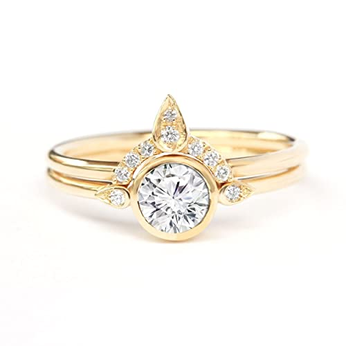 Amazon Com Solitaire Engagement Ring 1 2 Ct Diamond Rings Set Thin Gold Band Diamond Ring Delicate Thin Ring Handmade