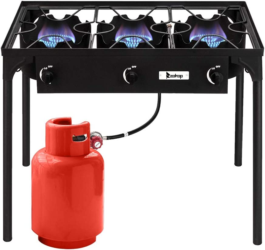 Coofel Outdoor Stove 3 Burners High Pressure Propane Gas Camp Stove with Detachable Legs, Perfect for Camping Patio, 225,000-BTU