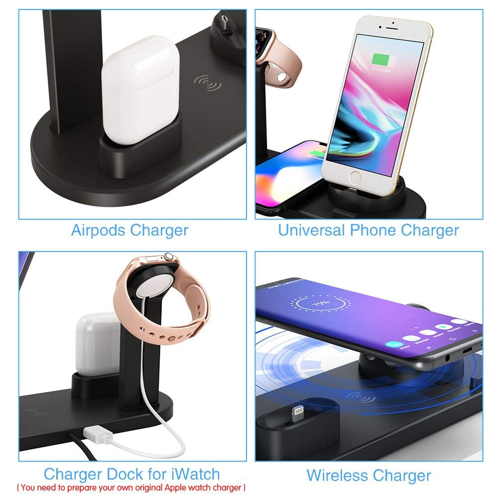 Wireless Charger,COSOOS 4in1 Wireless Charging Station for Apple Product,iWatch Series 5/4/3/2/1,Airpods Pro,Charging Dock Compatible with iPhone 11 ...
