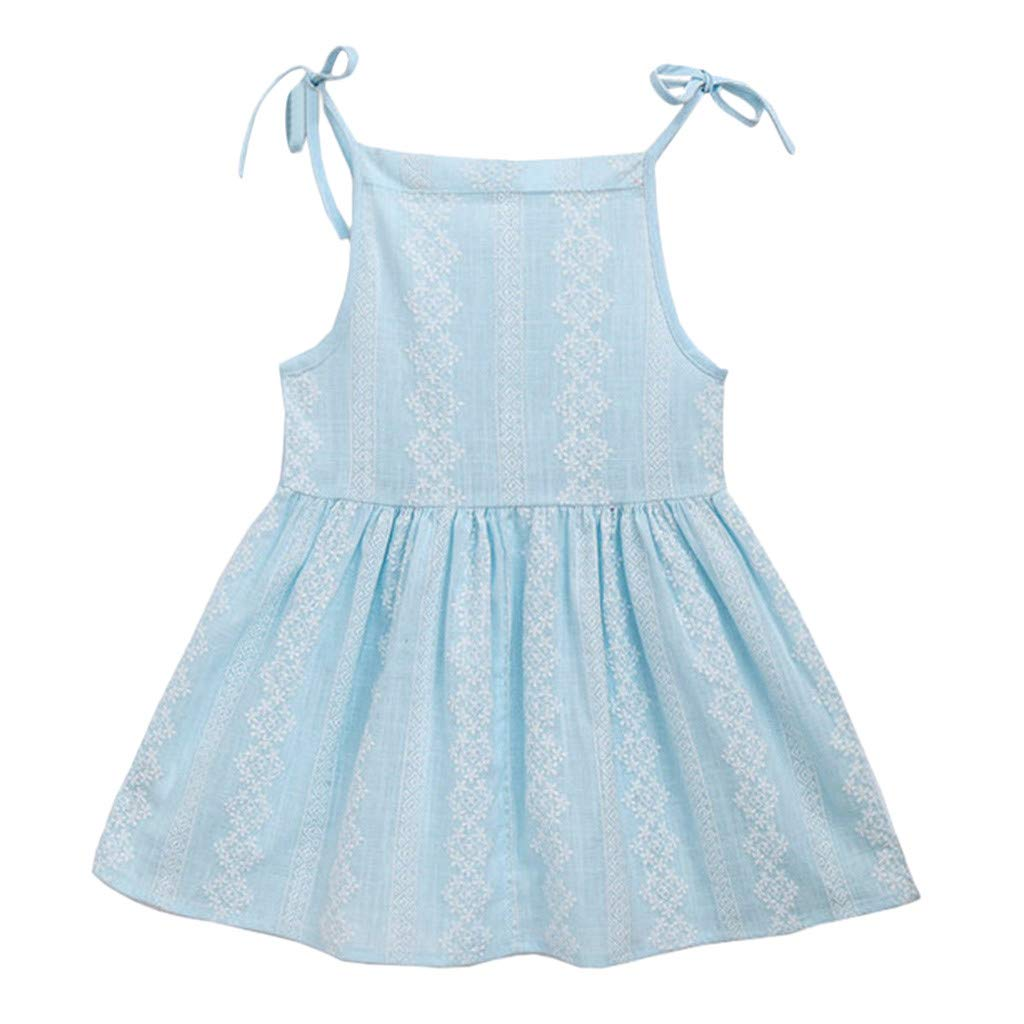 Daily Dress for Kids Baby Girls Floral Printed Strap Sleeveless Casual Sundress Party Dress (Age: 18-24 Months, Light Blue)