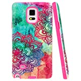 Note 4 Case, Style4U Hawaiin Flower Design Slim Fit Hybrid Armor Case for Samsung Galaxy Note 4 with 1 Style4U Stylus [Hawaiin Flower Hot Pink]