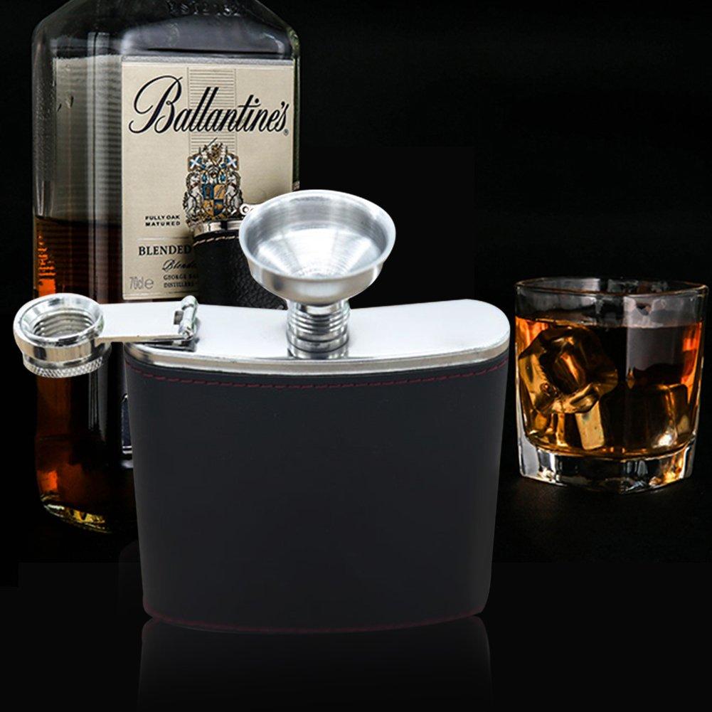 Style A, 6OZ PUERI Flasques de la hanche Alcool Acier Inoxydable Hip Flask Whisky Vodka Flasque Fiole Pour Hommes Flasque Portable avec Entonnoir Pour Ski Voyages Escalade P/êche Camping