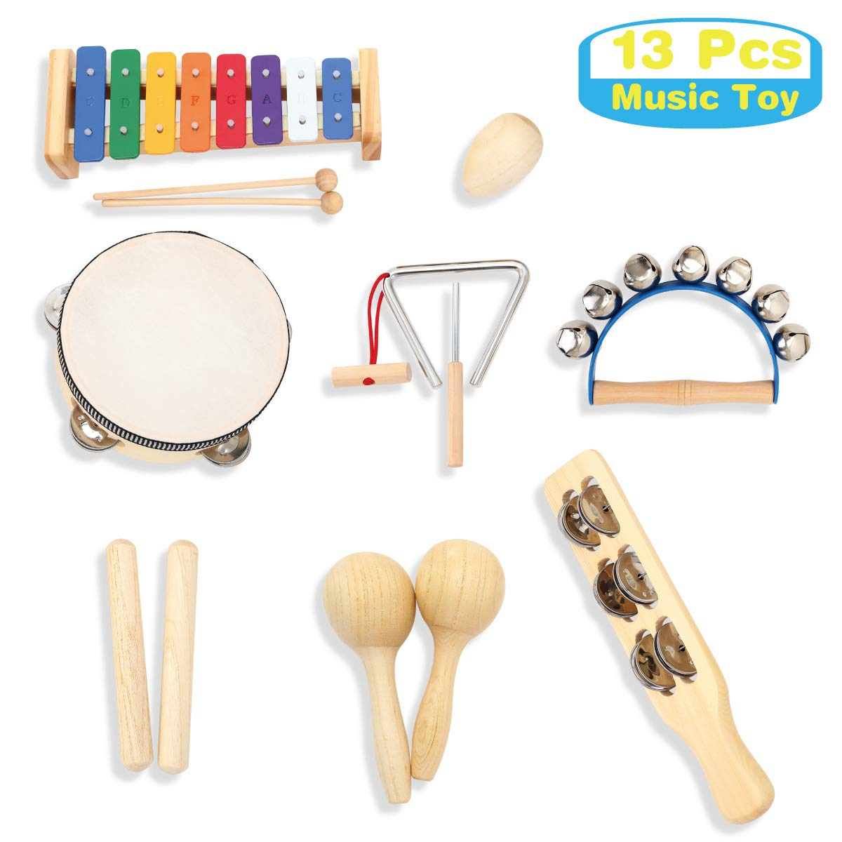 MUSICUBE Kids Wood Musical Instruments, Percussion Set with Xylophone for Kids Children, 13 Pcs, ASTM Certified Toddler Musical Toys