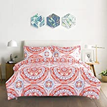 Duvet Cover Set, Coral Pink Bohemian Boho chic Mandala Pattern Printed on White, Soft Microfiber Bedding with Zipper Closure (3pcs, Queen Size)