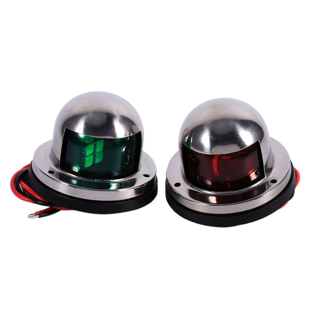 1 Pair LED Bow Boat Navigation Lights Red and Green, 12V Marine Boat Yacht Light Led Kit, Stainless Steel Pontoons Sailing Signal Lights for Boats Keenso