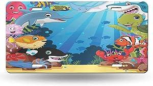 dsdsgog Strong Securing Clips Whale,Colorful Underwater Sandy Ground Cartoon Shark Fin Sea Plants Art Print,Sky Blue Hot Pink Orange 12x6 inches,Original Design