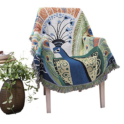 Dopromal- Knit Cotton Soft Living Room Throw Blanket & Tapestry Wall Art Hangings,Throws and Blankets for Sofa/Bed, Home Super Decorative Throw Blanket (peacock)